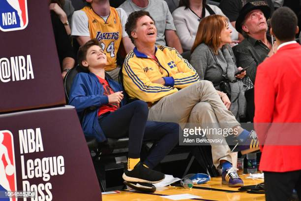 Will Ferrell and Mattias Ferrell attend a basketball game between the Los Angeles Lakers and and the Minnesota Timberwolves at Staples Center on...