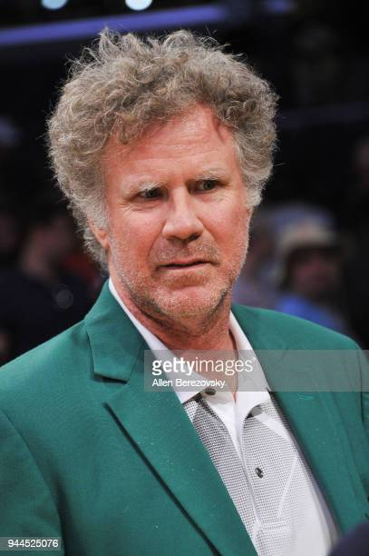 Will Ferrell attends a basketball game between the Los Angeles Lakers and the Houston Rockets at Staples Center on April 10 2018 in Los Angeles...