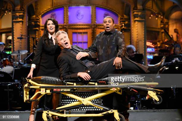 LIVE Will Ferrell Episode 1737 Pictured Cecily Strong Will Ferrell Kenan Thompson during the opening monologue in Studio 8H on Saturday January 27...