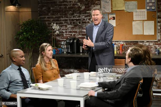 LIVE Will Ferrell Episode 1737 Pictured Chris Redd Heidi Gardner Will Ferrell during Office Breakroom in Studio 8H on Saturday January 27 2018