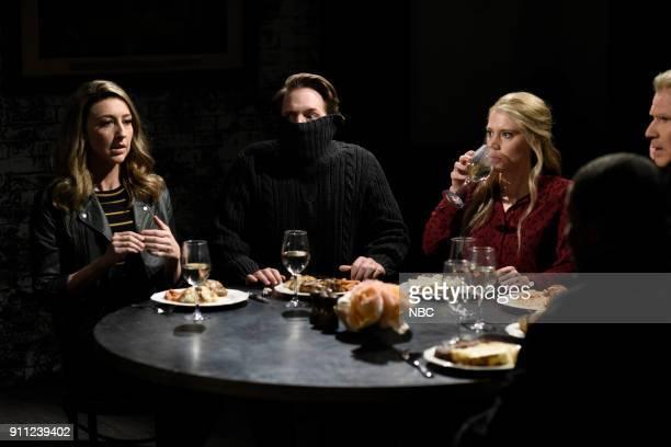"Will Ferrell"" Episode 1737 -- Pictured: Heidi Gardner, Beck Bennett, Kate McKinnon during ""Dinner Discussion"" in Studio 8H on Saturday, January 27,..."