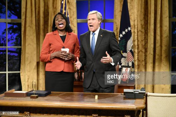 LIVE 'Will Ferrell' Episode 1737 Pictured Leslie Jones as Condoleezza Rice Will Ferrell as George W Bush during the 'Cold Open' in Studio 8H on...