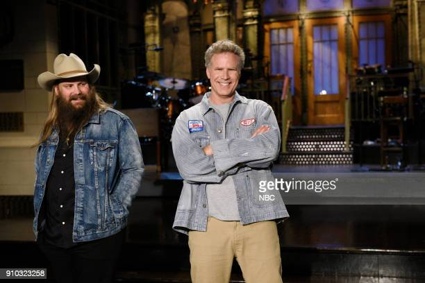 """Will Ferrell"""" Episode 1737 -- Pictured: Musical Guest Chris Stapleton with Host Will Ferrell during a promo in Studio 8H --"""