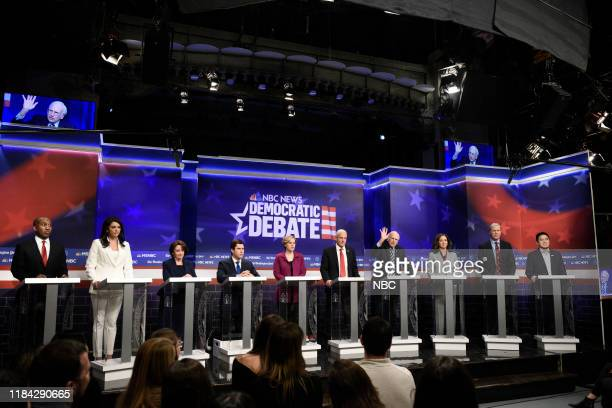 LIVE Will Ferrell Episode 1774 Pictured Chris Redd as Cory Booker Cecily Strong as Tulsi Gabbard Rachel Dratch as Amy Klobuchar Colin Jost as Pete...
