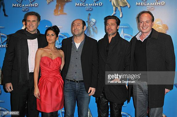 Will Ferrell Geraldine Nakache Kad Merad Brad Pitt and director Tom McGrath attend the 'Megamind' Paris premiere on November 29 2010 in Paris France