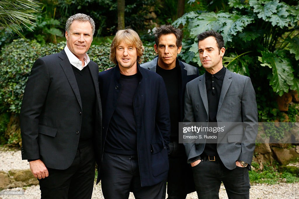 Will Ferrell, Owen Wilson, Ben Stiller and Justin Theroux attend the Photocall for the Fan Screening of the Paramount Pictures film 'Zoolander No. 2' at 'Hotel De Russie Garden' on January 30, 2016 in Rome, Italy.