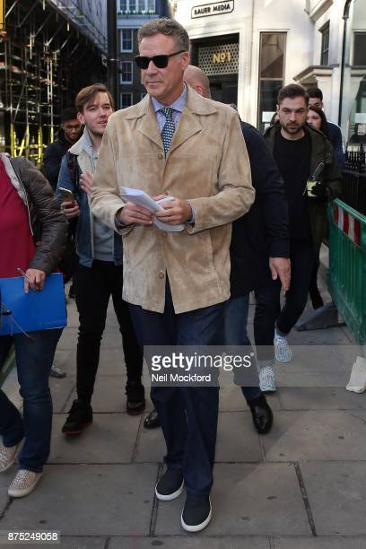 Will Ferrell seen leaving the Bauer Media Studios after promoting 'Daddy's Home 2' on Magic Radio and KISS FM UK on November 17 2017 in London England