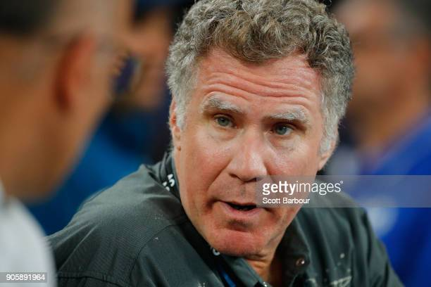 Will Ferrell watches the second round match between Grigor Dimitrov of Bulgaria and Mackenzie McDonald of the United States on day three of the 2018...