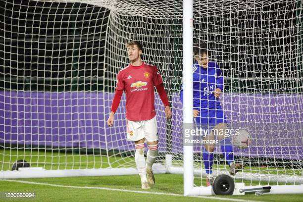 Will Fish of Manchester United after scoring an own goal to make it 2-0 during the Premier League 2 match between Leicester City and Manchester...