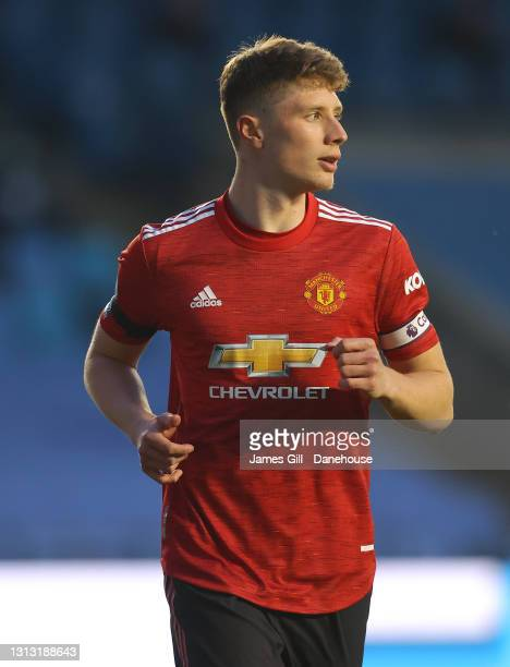 Will Fish of Manchester United looks on during the Premier League 2 match between Manchester City and Manchester United at Manchester City Football...