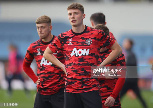 Will Fish of Manchester United looks on prior to the Premier League 2 match between Manchester City and Manchester United at Manchester City Football...