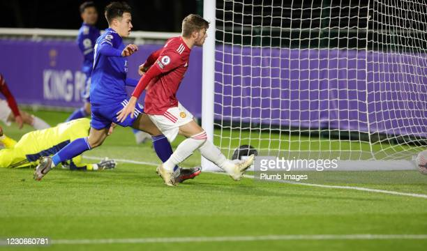 Will Fish of Manchester United scores an own goal to make it 2-0 during the Premier League 2 match between Leicester City and Manchester United at...