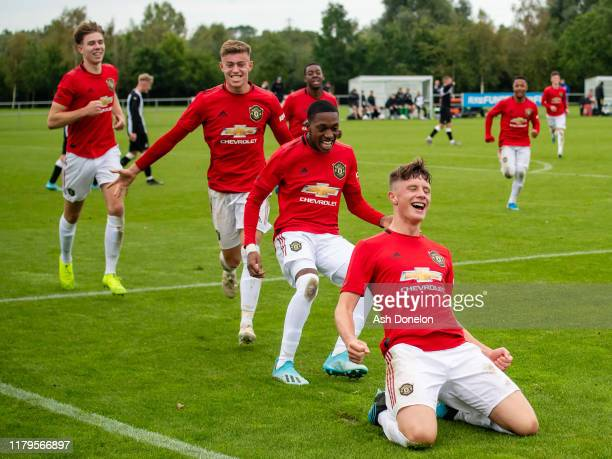 Will Fish of Manchester United U18s celebrates scoring their third goal during the U18 Premier League match between Manchester United and Newcastle...