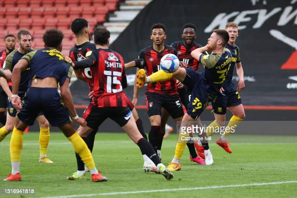 Will Forrester of Stoke City scores their team's first goal during the Sky Bet Championship match between AFC Bournemouth and Stoke City at Vitality...