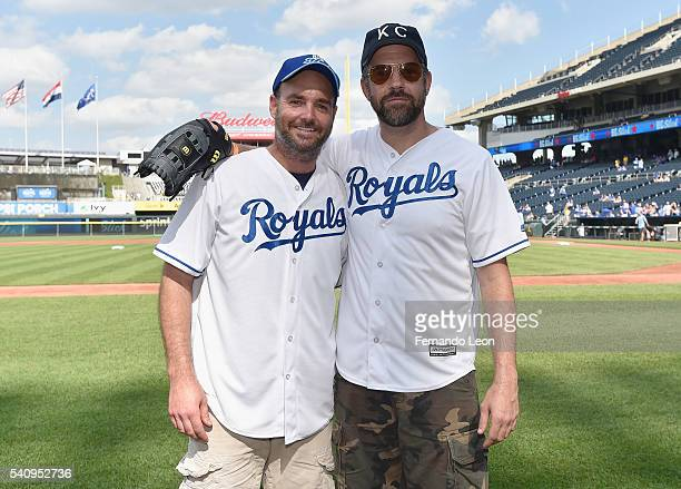 Will Forte and Jason Sudeikis pose for pictures during the Star Spangled Softball game at Kauffman Stadium during the 2016 Big Slick Celebrity...