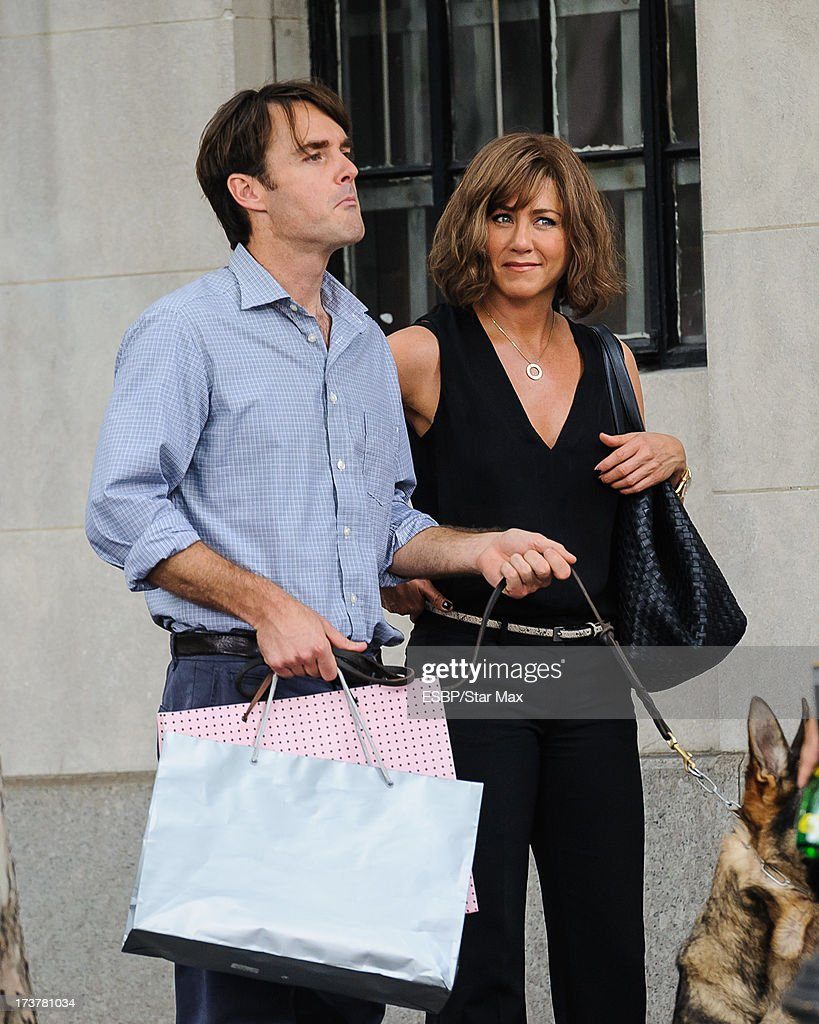 Will Forte and Jennifer Aniston as seen on July 17, 2013 on the set of 'Squirrels To Nuts' in New York City.