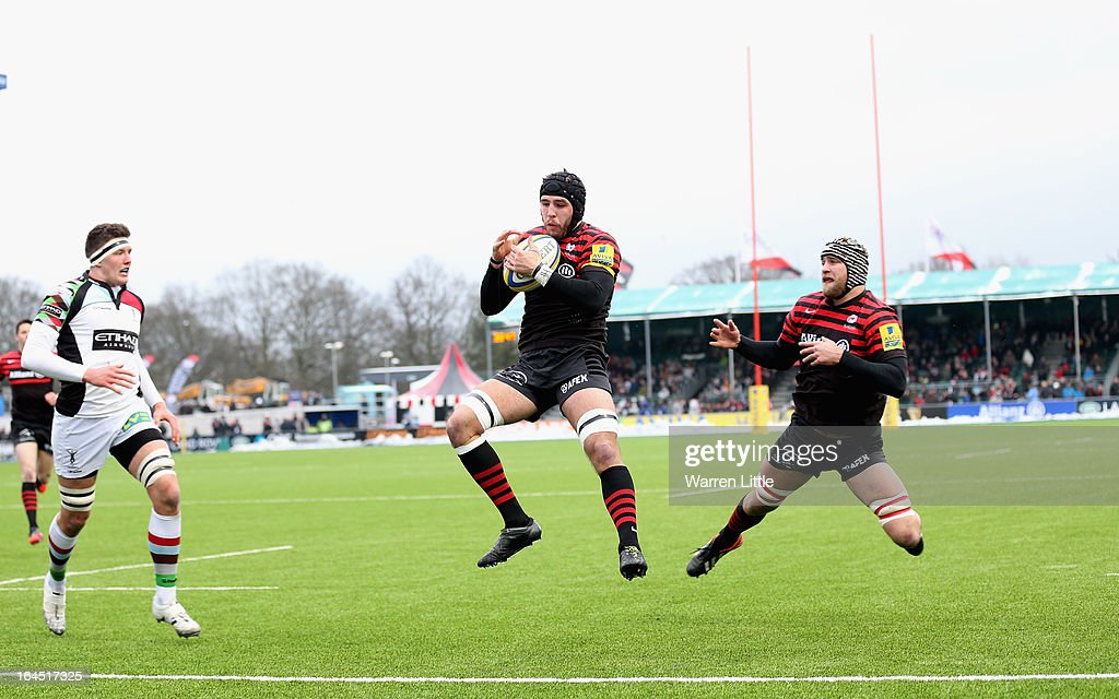 Will Fraser of Saracens scores a try during the Aviva Premiership match between Saracens and Harlequins at Allianz Park on March 24, 2013 in Barnet, England.