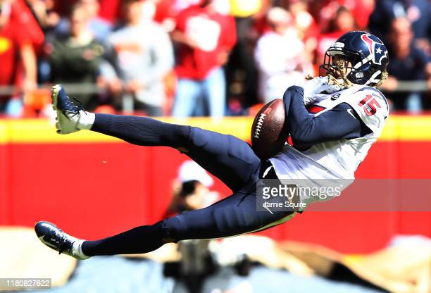 Will Fuller of the Houston Texans attempts to make a reception during the first half against the Kansas City Chiefs at Arrowhead Stadium on October...