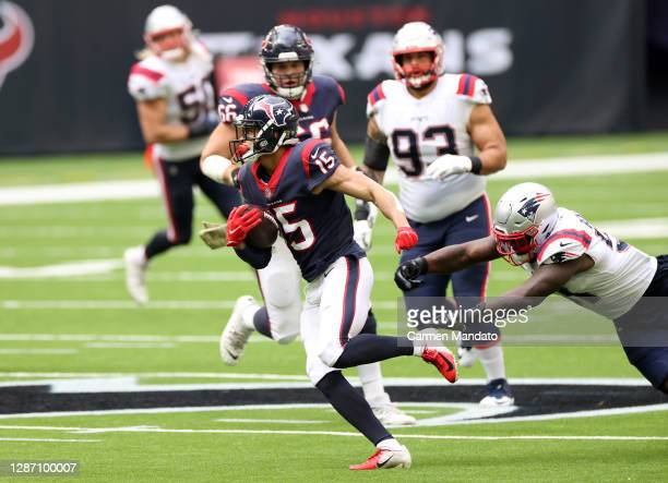 Will Fuller of the Houston Texans carries the ball during their game against the New England Patriots at NRG Stadium on November 22, 2020 in Houston,...