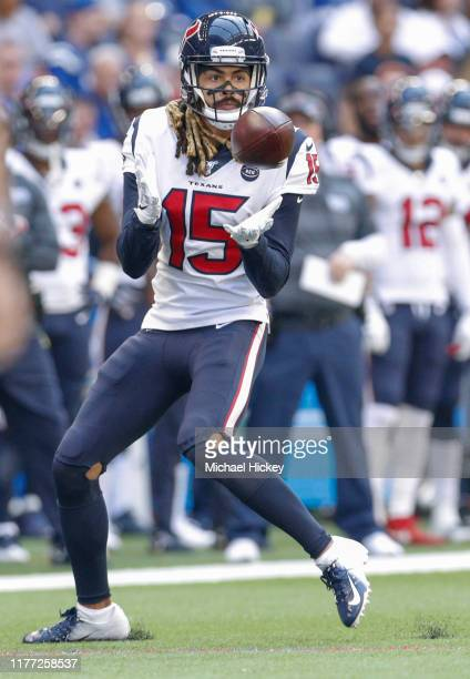 Will Fuller of the Houston Texans catches a pass during the first half against the Indianapolis Colts at Lucas Oil Stadium on October 20, 2019 in...