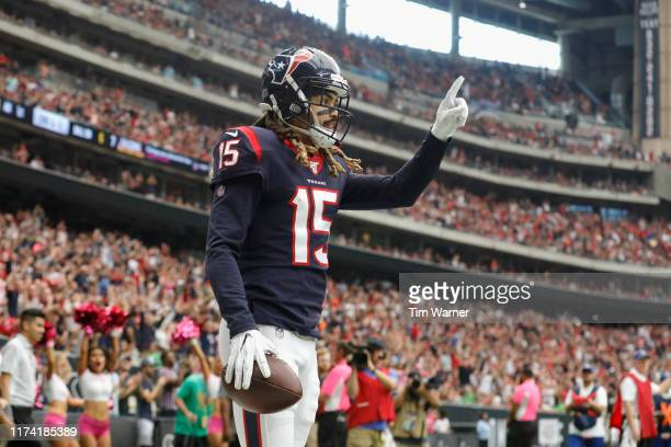 Will Fuller of the Houston Texans celebrates a touchdown reception against the Atlanta Falcons in the first quarter at NRG Stadium on October 6, 2019...