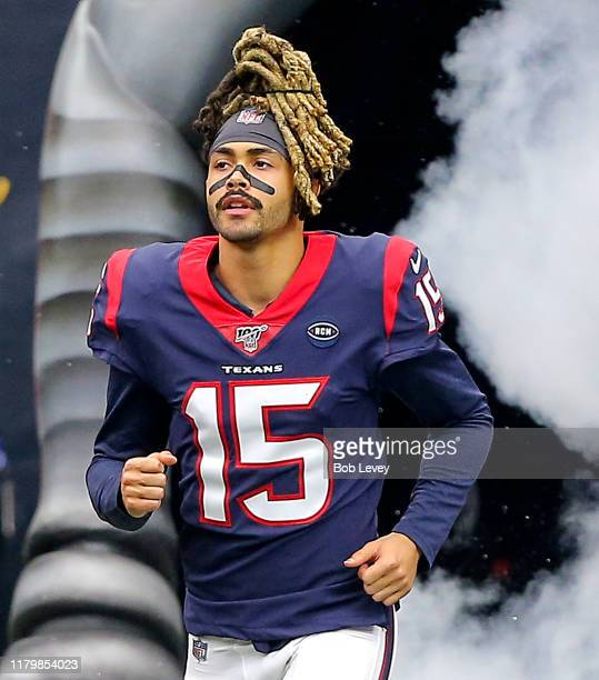 Will Fuller of the Houston Texans is introduced to the crowd before playing against the Atlanta Falcons at NRG Stadium on October 06, 2019 in...