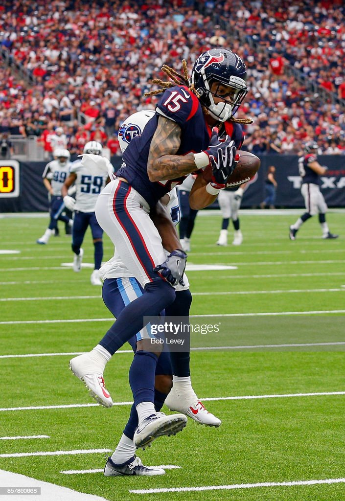 Will Fuller #15 of the Houston Texans is unable to hold onto the ball at NRG Stadium on October 1, 2017 in Houston, Texas. Houston won 57-14.