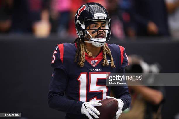 Will Fuller of the Houston Texans looks on in the first quarter against the Atlanta Falcons at NRG Stadium on October 06, 2019 in Houston, Texas.