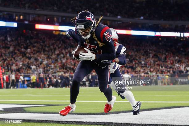 Will Fuller of the Houston Texans looks to catch a pass in the end zone in the second half against the New England Patriots at NRG Stadium on...