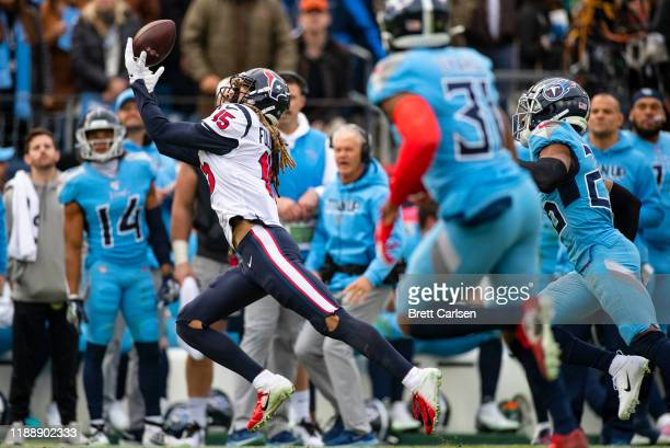 Will Fuller of the Houston Texans makes a first down reception during the third quarter against the Tennessee Titans at Nissan Stadium on December...