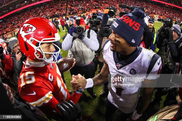 Will Fuller V of the Houston Texans and Deshaun Watson of the Houston Texans shake hands following the AFC Divisional playoff game at Arrowhead...