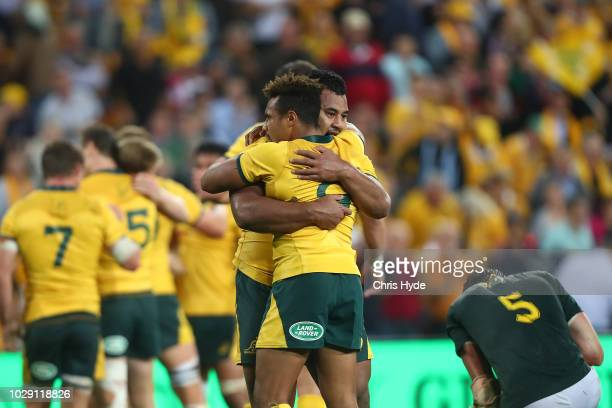 Will Genia and Taniela Tupou of the Wallabies celebrate winning The Rugby Championship match between the Australian Wallabies and the South Africa...