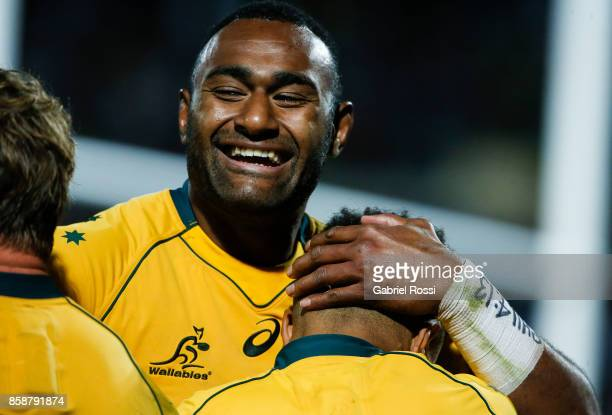 Will Genia of Australia and teammates celebrate a try during The Rugby Championship match between Argentina and Australia at Malvinas Argentinas...