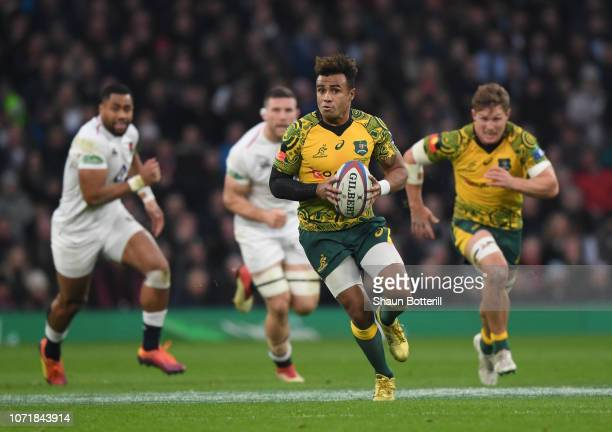 Will Genia of Australia breaks with the ball during the Quilter International match between England and Australia at Twickenham Stadium on November...