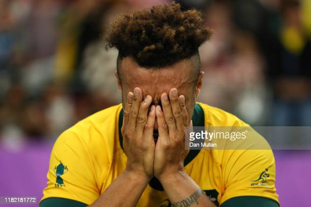 Will Genia of Australia cries following his side's defeat during the Rugby World Cup 2019 Quarter Final match between England and Australia at Oita...