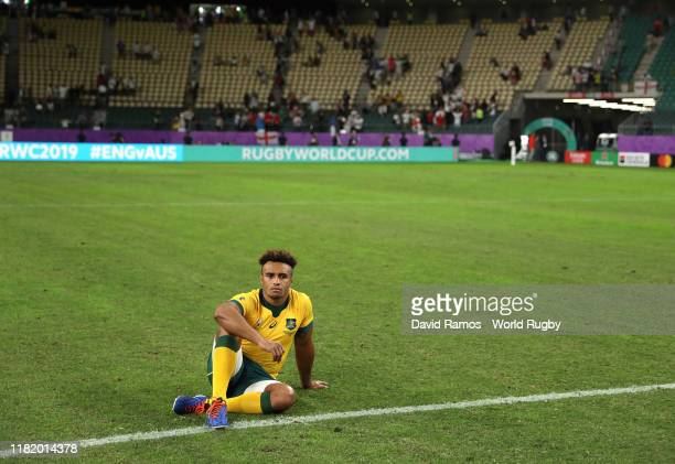 Will Genia of Australia looks dejected in defeat after the Rugby World Cup 2019 Quarter Final match between England and Australia at Oita Stadium on...