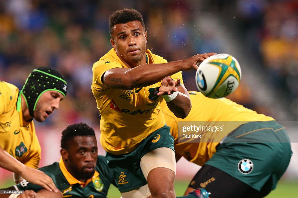 Will Genia of Australia paxses the ball during The Rugby Championship match between the Australian Wallabies and the South Africa Springboks at nib Stadium on September 9, 2017 in Perth, Australia.