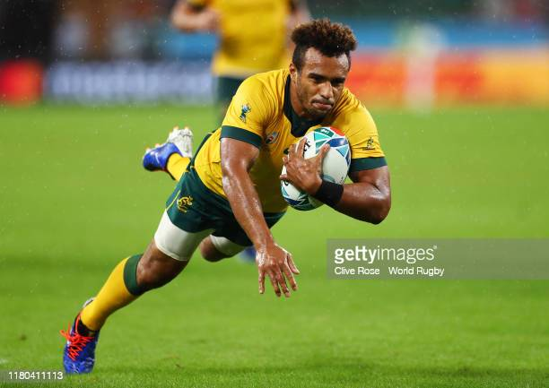 Will Genia of Australia scores his teams fourth try during the Rugby World Cup 2019 Group D game between Australia and Georgia at Shizuoka Stadium...