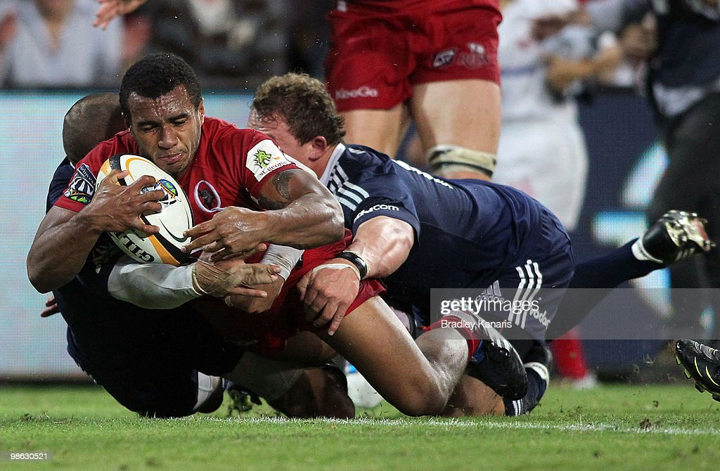 Will Genia of the Reds dives over the tryline but the try is disallowed during the round eleven Super 14 match between the Reds and the Stormers at Suncorp Stadium on April 23, 2010 in Brisbane, Australia.