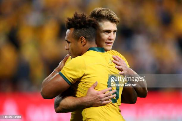 Will Genia of the Wallabies and James O'Connor of the Wallabies embrace after winning the 2019 Rugby Championship Test Match between Australia and...