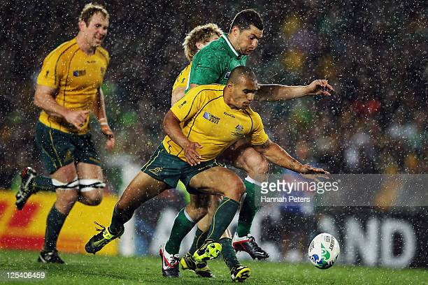 Will Genia of the Wallabies and Rob Kearney of Ireland scramble for the ball during the IRB 2011 Rugby World Cup Pool C match between Australia and...