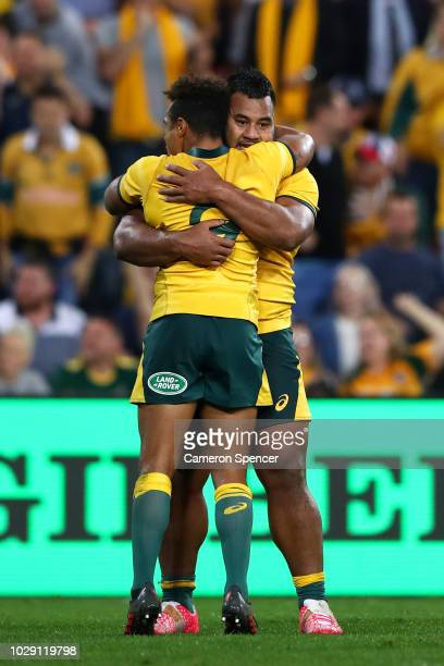 Will Genia of the Wallabies and Taniela Tupou of the Wallabies embrace after winning The Rugby Championship match between the Australian Wallabies...