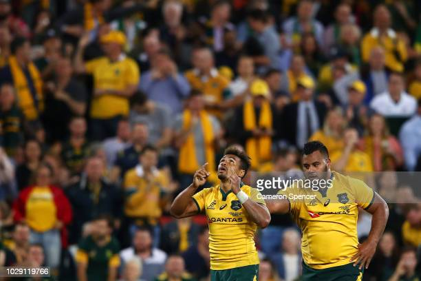 Will Genia of the Wallabies and Taniela Tupou of the Wallabies celebrate winning The Rugby Championship match between the Australian Wallabies and...