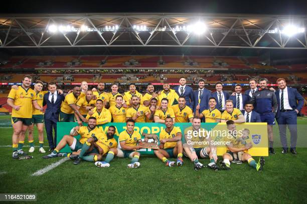 Will Genia of the Wallabies and team mates celebrate winning the 2019 Rugby Championship Test Match between Australia and Argentina at Suncorp...