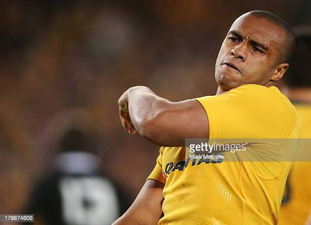 Will Genia of the Wallabies celebrates scoring a try during The Rugby Championship Bledisloe Cup match between the Australian Wallabies and the New...
