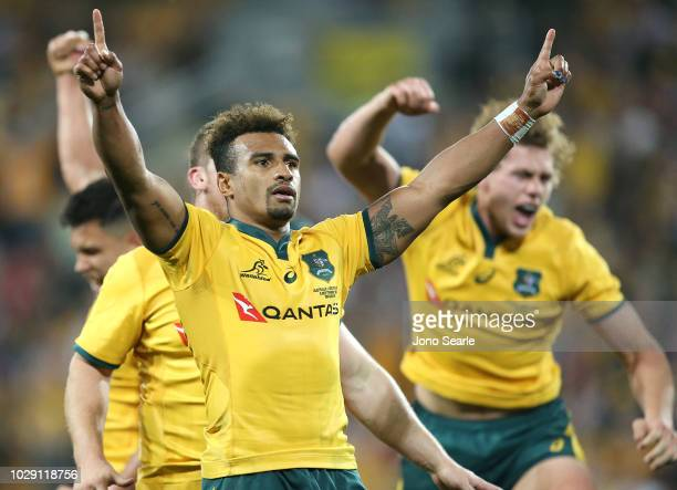 Will Genia of the Wallabies celebrates the win with his team during The Rugby Championship match between the Australian Wallabies and the South...