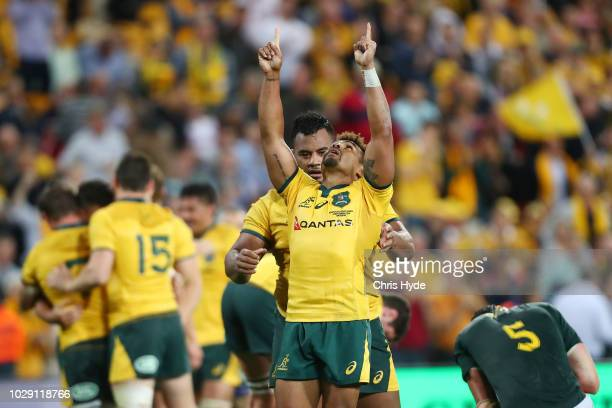 Will Genia of the Wallabies celebrates winning The Rugby Championship match between the Australian Wallabies and the South Africa Springboks at...