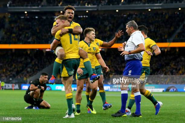 Will Genia of the Wallabies celebrates with Reece Hodge of the Wallabies after his try during the 2019 Rugby Championship Test Match between the...