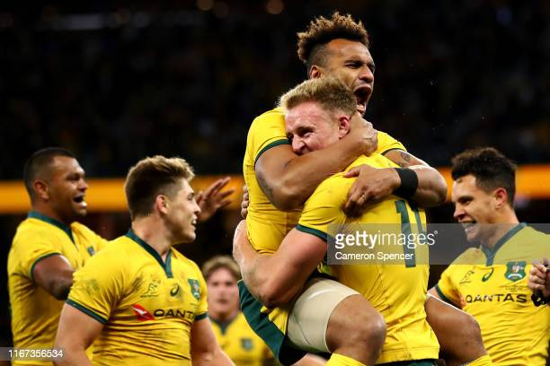 Will Genia of the Wallabies congratulates Reece Hodge of the Wallabies after scoring a try during the 2019 Rugby Championship Test Match between the...