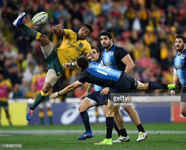 Will Genia of the Wallabies contests the ball with Joaquin Tuculet of Argentina during the 2019 Rugby Championship Test Match between Australia and...